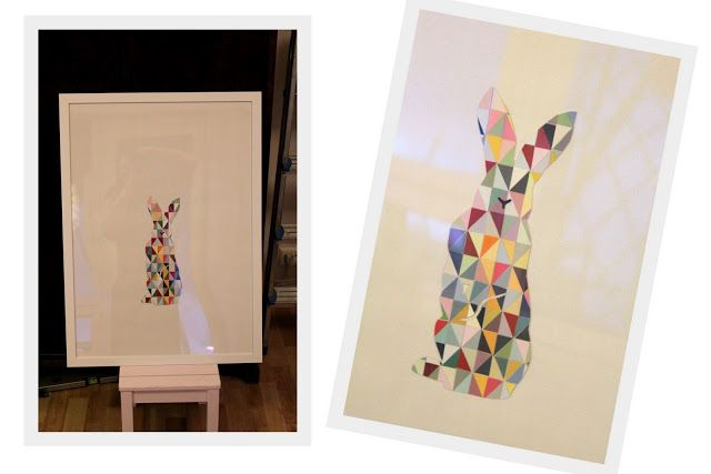 """Painting"" geometric bunny. Cut and glued painting sample-cards."