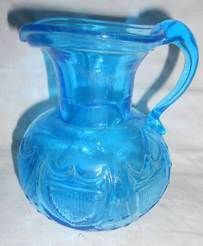 Pretty Blue Clevenger Glass Pitcher-Stars & Shield-Applied Handle