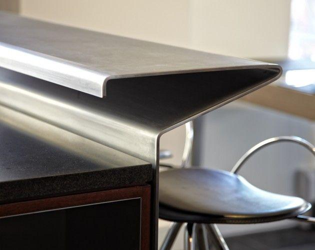 bent stainless steel island bar counter. caliper studio, NY.