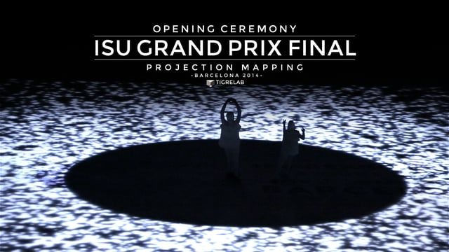For the opening ceremony of 2014 Barcelona ISU Grand Prix of Figure Skating Final, Tigrelab created a show, in which two ice skaters and a 60x30m projection mapping on ice arena coexist.   Using water as a common stream, contents focused on Mediterranean History. Life, conflicts, chaos, cultural meetings represented in an universal, abstract and minimalist language.  Credits: Direction / Art direction: Tigrelab / Lluis Danés Prodution: Tigrelab Coordinator: Cristina Sánchez Original m...