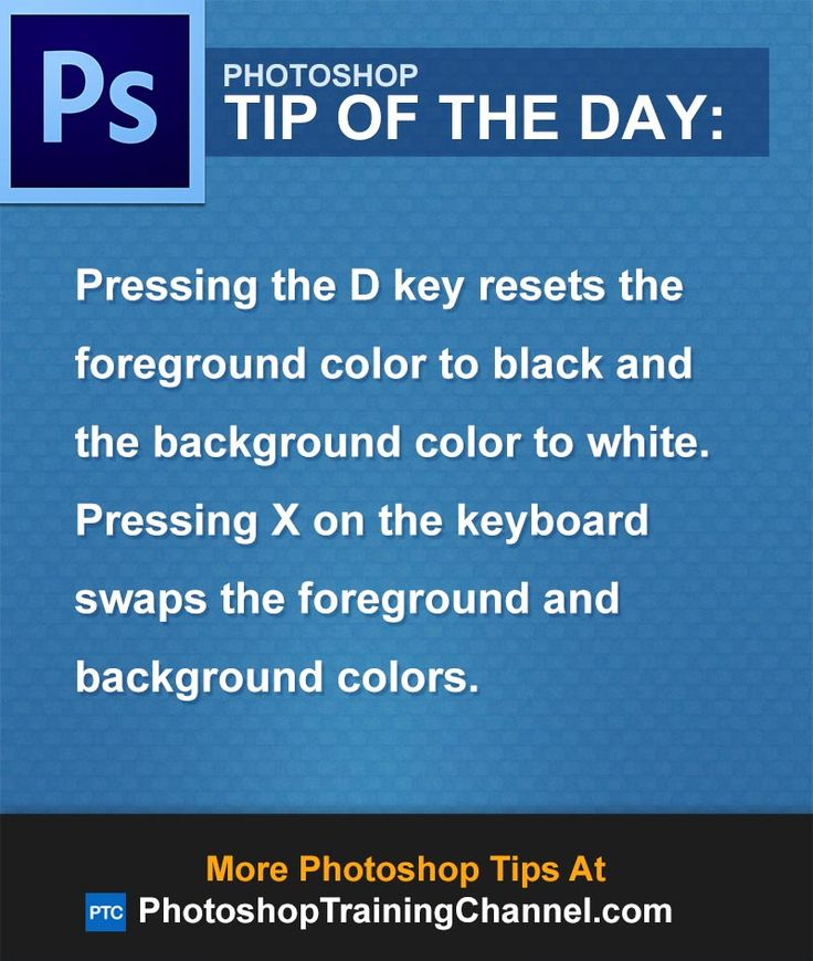 Pressing the D key resets the foreground color to black and the background color to white. Pressing X on the keyboard swaps the foreground and background colors.