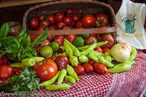 Making Salsa - tomatoes, peppers, Onions, jalapenos, oregano, cilantro, lime