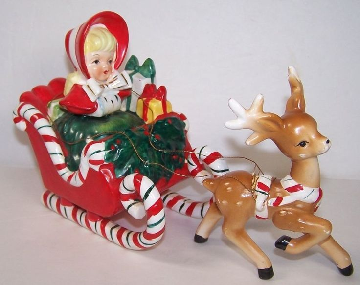 VINTAGE LEFTON GIRL IN CANDY CANE SLEIGH WITH 1 REINDEER 1950'S CHRISTMAS - omg is this too cute for words or what??