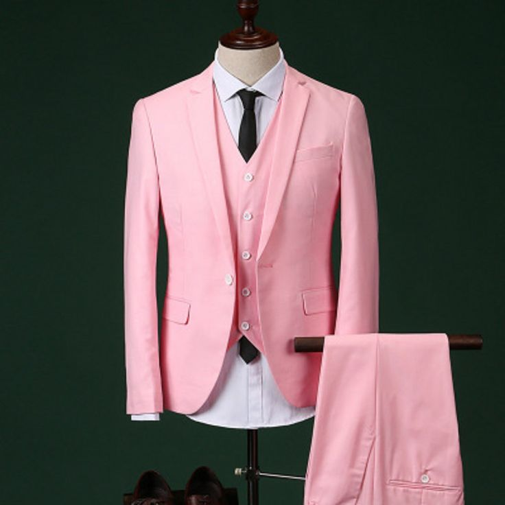 Custom Made Groomsmen Notch Lapel Groom Tuxedos Pink/Red Men Suits Wedding Best Man Blazer (Jacket+Pants+Tie+Vest) C17