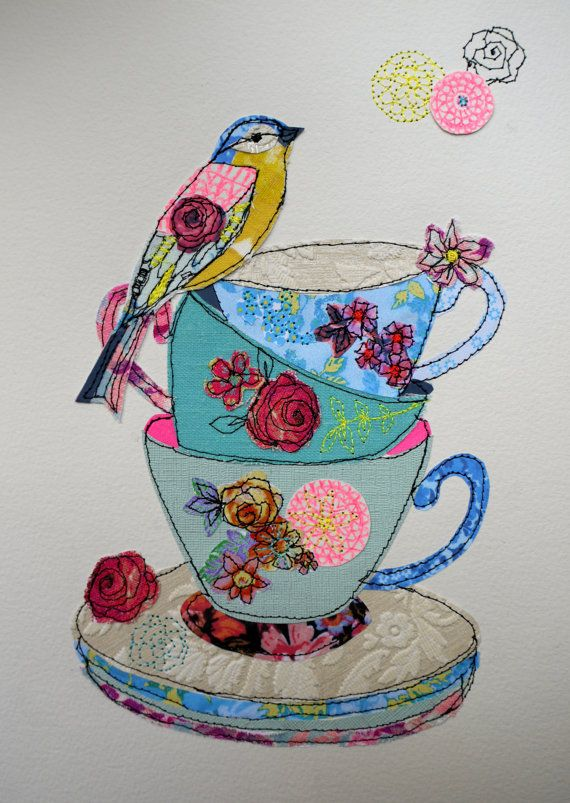 Tea cup Stack & Bird stitched mixed media by AmandaWoodDesigns