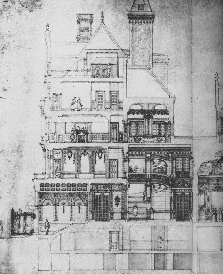 Floor plan rendering, of the NYC home of  American socialite and businessman, Cornelius Vanderbilt 11, and his wife Alice. Located at: 1 West 57th Street, & 5th Avenue. American architect: George Browne Post - built during America's Gilded Age era, c.1883, demolished, c.1927. ~ {cwl}