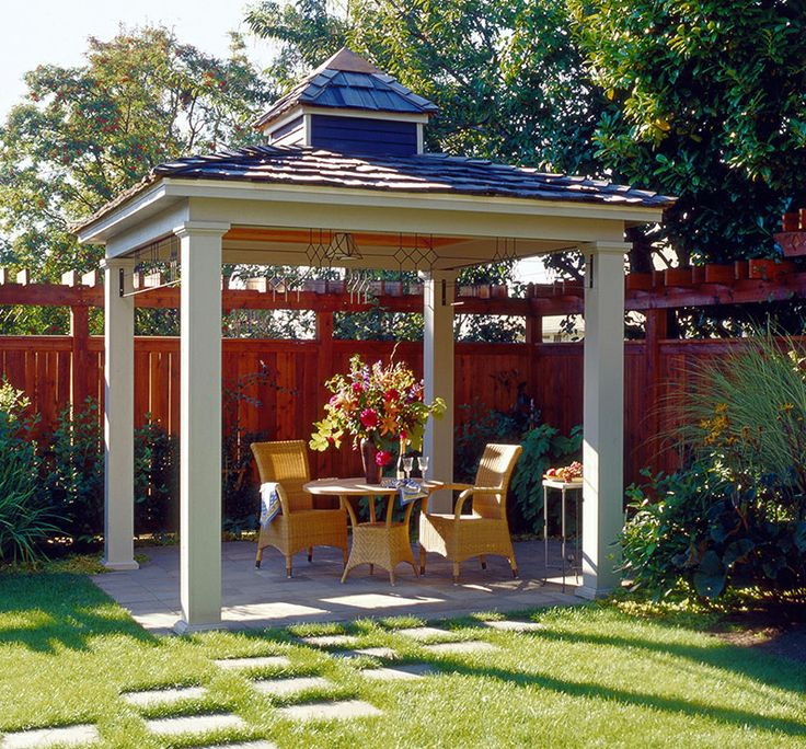 Simple hip roof pavilion with small cupola backyard for Garden pavilion designs