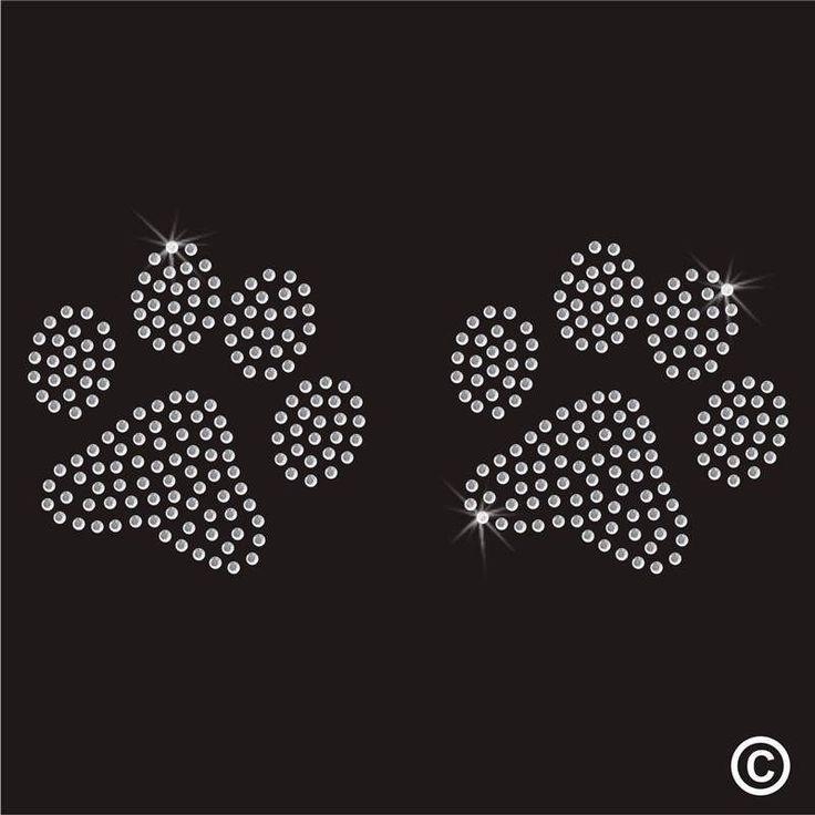 Dog Paws Rhinestone Diamante Transfer Iron On Hotfix Gem Crystal Patch Motif b4456f9a35f2