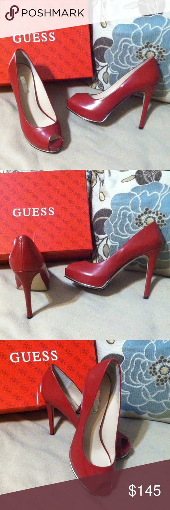Guess Wine Red Matte Leather PeepToe PlatformPumps Guess Wine Red Matte Leather Peep-toe Platform Pumps. Guess Shoes