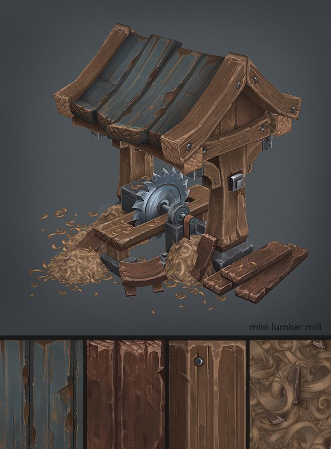 mini lumber mill, Antonio Neves on ArtStation at https://www.artstation.com/artwork/rzKbO