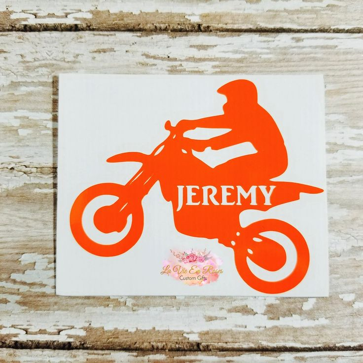 Dirt bike decal, racing, monogram decal, Yeti, Rtic, tumblers, coolers, cars, helmet, Instant Pots, water bottles. FREE SHIPPING by LaVieEnRosesDesigns on Etsy
