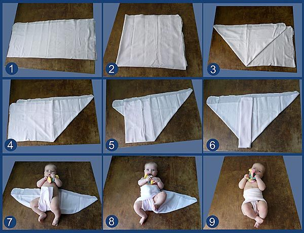 Складчатый подгузник из прямоугольной пеленки