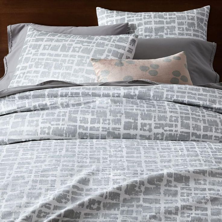 West Elm Cotton Lustre Velvet Metallic Blocks Quilt Cover + Pillowcases - Stone White