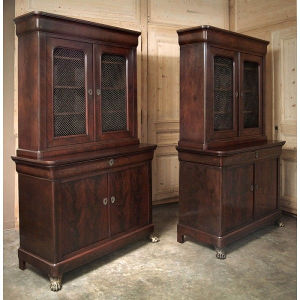 PAIR of Antique Louis Philippe Bookcases   Antique Bookcases    antique   library  furniture. 200 best Antique Home Office Furniture   Library images on Pinterest