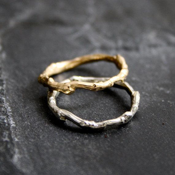 Lovely organic Branch/Twig Wedding bands in 14kt by opalwing, $550.00