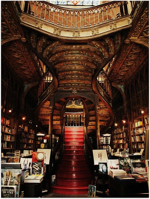 Lello Bookshop, built in 1906 by an engineering professor, Xavier Esteves, at Porto in Portugal. #architecture