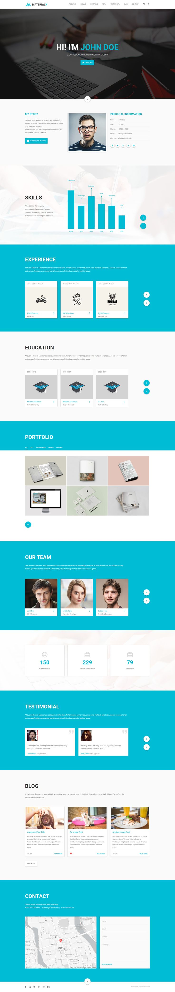 MaterialX is a material design Resume and Portfolio Template based on Twitter Bootstrap and Materialize, developed for professional to display their Profile, Resume, Portfolio etc. Easily customizable and fully responsive for all device.