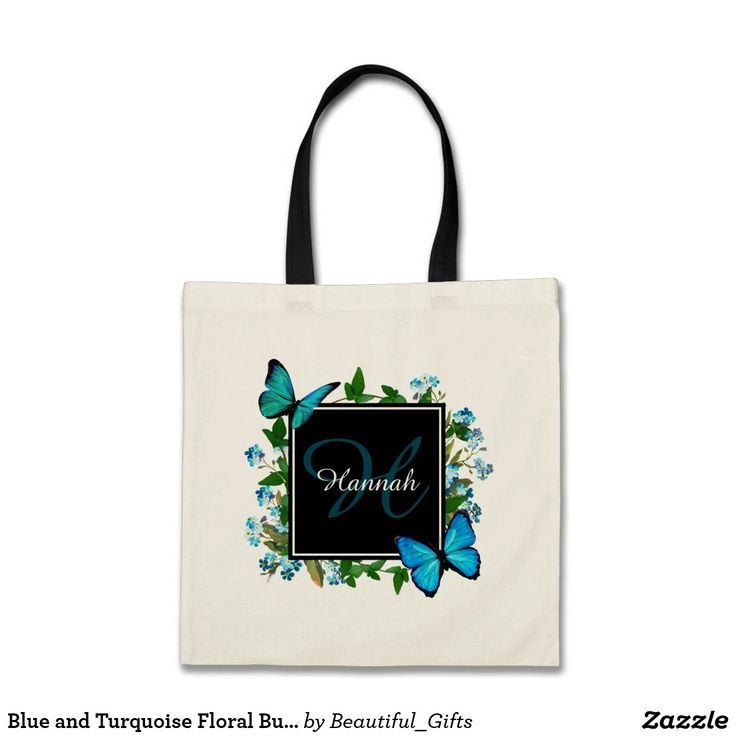 Blue and Turquoise Floral Butterfly with Monogram Tote Bag