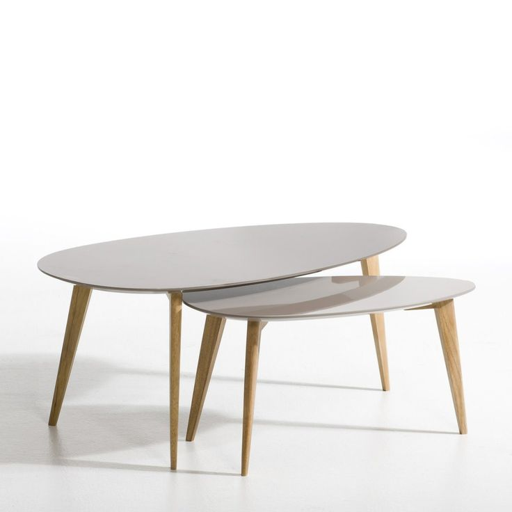 Table basse flashback laqu et h v a marron taupe gm for Table basse scandinave ampm