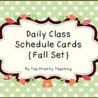 This daily class schedule card set includes 34 cards in a fall theme.  If there is a class missing, let me know and I can add it for you.  math, sc...