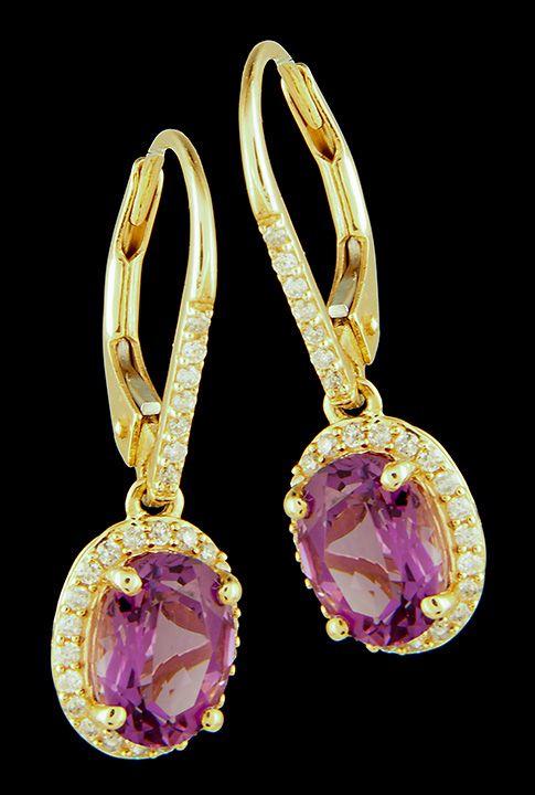 Amethyst+&+Diamond+(0.25ctw)+Leverback+Dangle+Halo+Earrings+in+14K+Gold