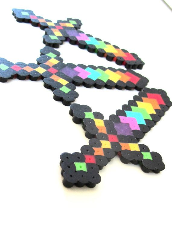 Rainbow Minecraft inspired Sword Perler Bead Sprite by PerlerPunks