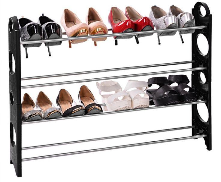 Shelve Organiser Storage Unit Shoe Aluminum 4 Tier Black - Other