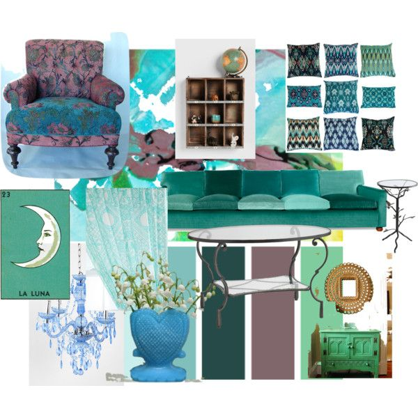"""""""Swirling Teal Living Room"""" by xxkimmiexx on Polyvore"""