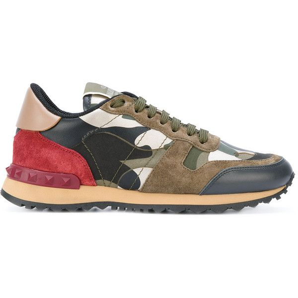 Valentino Valentino Garavani Camouflage Rockrunner sneakers ($875) ❤ liked on Polyvore featuring shoes, sneakers, multicolour, lace up shoes, multicolor sneakers, round toe sneakers, leather shoes and multi colored sneakers