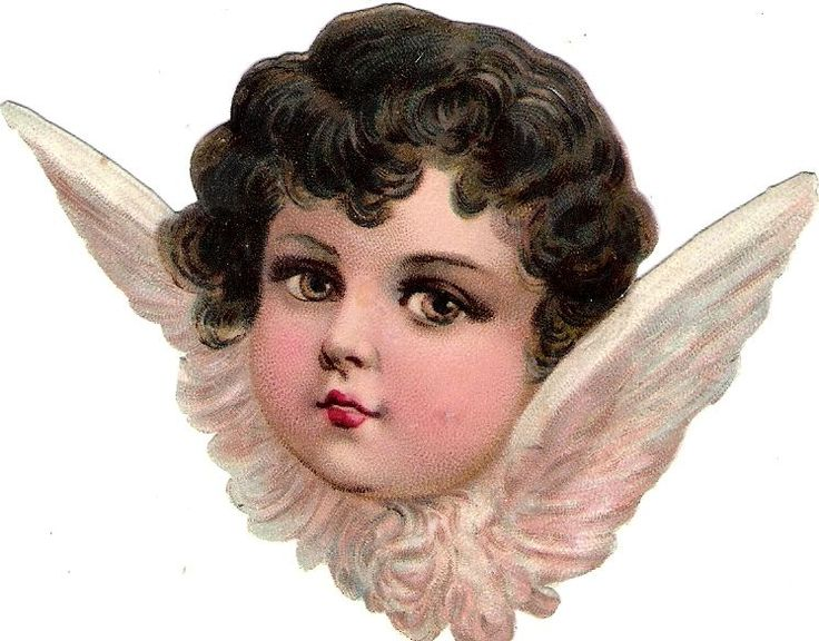 Oblaten Glanzbild scrap die cut chromo Engel angel ange  head tete Kopf
