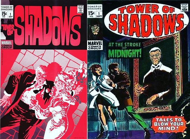 The unused Jim Steranko cover to Tower of Shadows 1 1970 next to the used John Romita cover for the same issue.  Although the Romita cover definitely has that generic Marvel feel to it the Steranko cover is a genius in cover design. The Editor-in-Chief at the time was Stan Lee. I wonder how the fans would have reacted to it at the time?