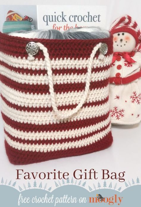 Favorite Gift Bag - free crochet pattern for a more eco-friendly holiday on Mooglyblog.com! #crochetbags