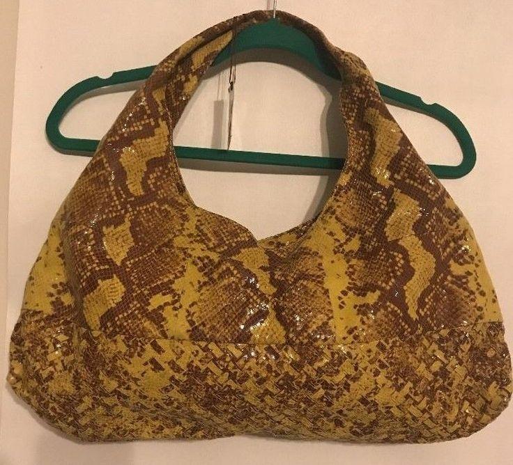 Antonio Melani Snakeskin Look Leather Hobo Handbag Yellow Snake NWT #AntonioMelani #Hobo