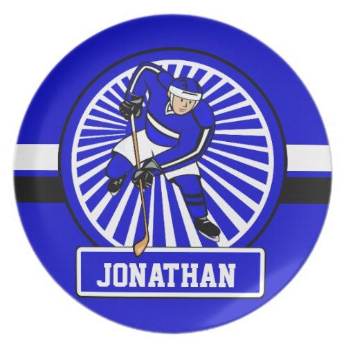 Personalized Ice Hockey Player Blue Dinner Plate