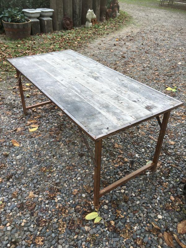 Oude landelijke industriële eettafel tuintafel klaptafel werkbank werktafel oud vintage stoer