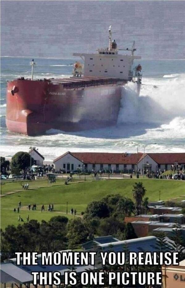 Pasha Bulker, beached off Newcastle Beach, Australia in June 2007. Photo by Murray Webber.