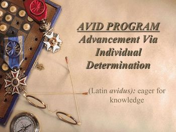 This presentation was created to introduce the benefits of AVID program to parents. Use this presentation to convince parents of the effectiveness and the necessity of the AVID program on campus. The presentation contains students' testimonies and a graph comparing the earning of a high school graduate with the earnings of college graduate.