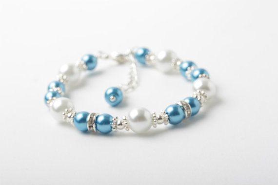 Ocean blue flower girl bracelet, Ocean Blue and white pearl bracelet, Malibu blue, bridesmaid jewelry, ocean blue wedding, junior bridesmaid by CharmanteBijoux on Etsy