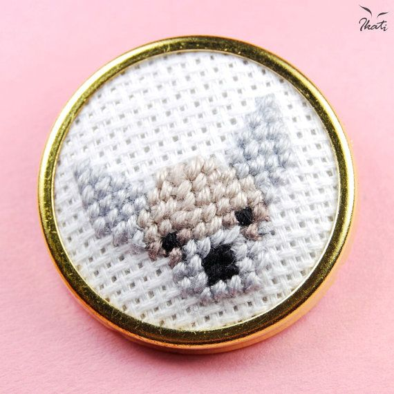 CHIHUAHUA Dog Brooch  Cross Stitch  Embroidery  by IkatiWorks ***this is cross stitch***