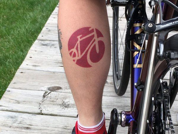 Mens Cool Bicycle Tattoo On Calves