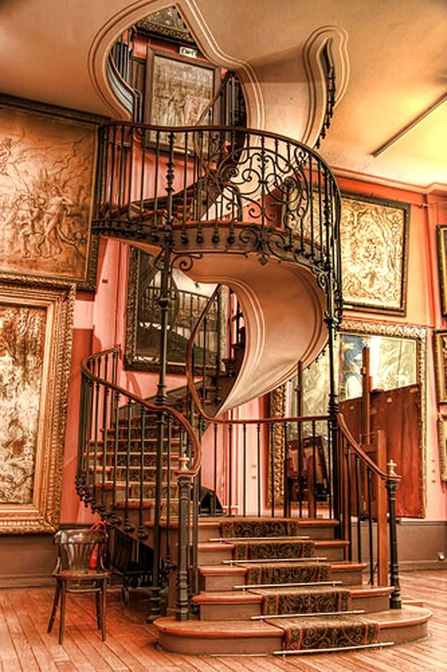 Gorgeous decorative steampunk spiral staircase.