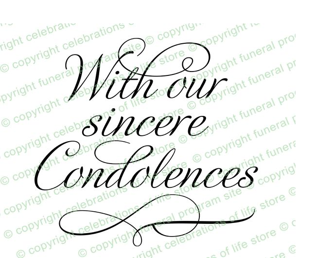 Sympathy Messages : Sincere Condolences Word Art Title