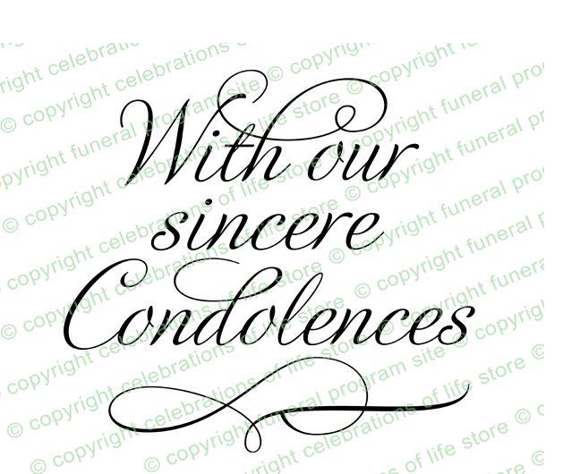 Sympathy Messages : Sincere Condolences Word Art Title