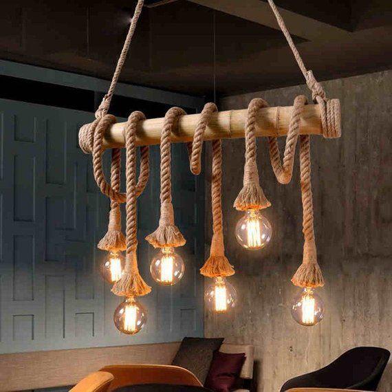 Arturest Retro Touw 6 Lampen Kroonluchter Vintage Hennep Touw Etsy Rope Pendant Light Rope Pendant Lamps Vintage Pendant Lamp