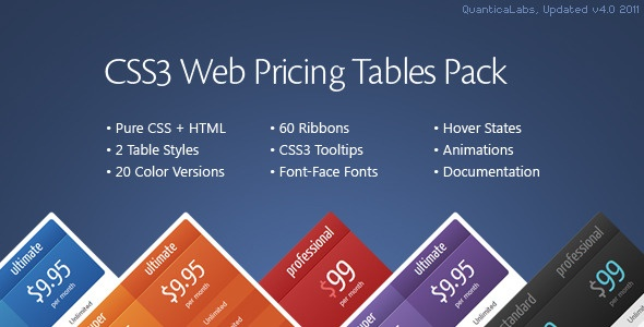 CSS3 Web Pricing Tables Pack (Grids) is a pack of pure CSS3 Pricing Tables with 2 table styles and 20 predefined color versions including: hover states, animations, ability to add a custom ribbon to the column header, possibility to set one or many columns as active (popped-up) by default, table cell tooltips. Tags: grids, pricing grids, pricing table, pricing tables, ribbons, tables, web boxes, web elements.