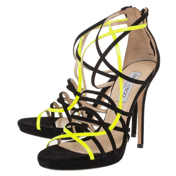 Jimmy Choo Yellow and Black Suede Myth Strappy Sandals Size 40 ❤ liked on Polyvore featuring shoes, sandals, strap sandals, black suede shoes, black shoes, black suede sandals and black sandals