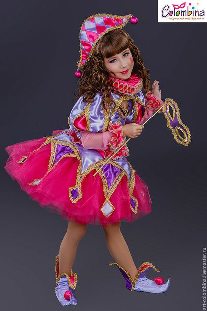 Купить или заказать костюм Коломбины в интернет-магазине на Ярмарке Мастеров. карнавальный костюм Коломбины для девочки комплектация: платье, болеро, воротник, шапочка, ботинки,…