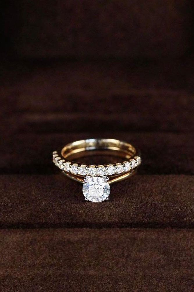 30 Wedding Ring Sets That Make The Perfect Pair ❤️ wedding ring sets rose gold simple engagement ring round ❤️ See more: http://www.weddingforward.com/wedding-ring-sets/ #wedding #bride #engagementrings #weddingringsets