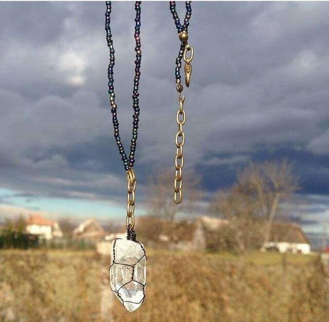 Crystal quartz wrapped pendant