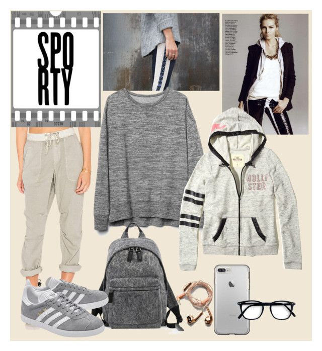 """shades of grey sporty"" by oripandora on Polyvore featuring James Perse, Gap, Hollister Co., Marc Jacobs, adidas Originals and Happy Plugs"